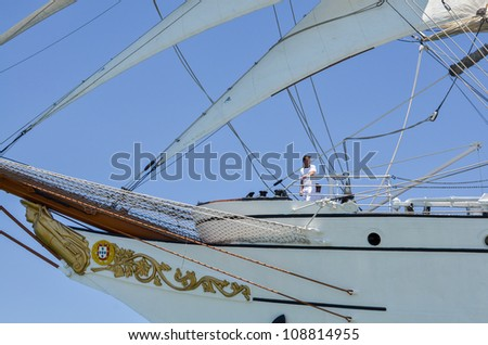 "LISBON, PORTUGAL - JULY 22: ""Sagres"" in The tall ships races July 22, 2012 in Lisbon, Portugal"