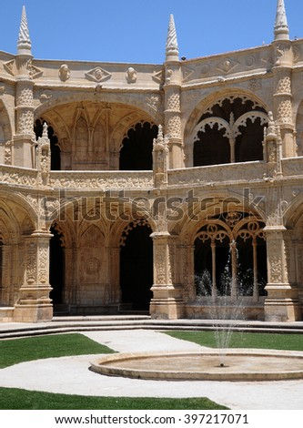 Lisbon, Portugal - july 3 2010 : the renaissance Jeronimos monastery built by the king Manuel the first in 1502