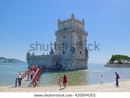LISBON, PORTUGAL - JUNE 14, 2014: Belem Tower, is arguably the most iconic symbol of city, granted World Heritage status by UNESCO in 1983. - stock photo