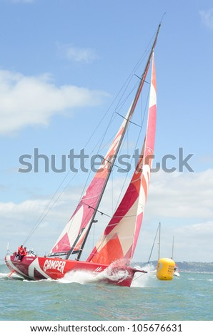 """LISBON, PORTUGAL - JUNE 10: """"CAMPER with Emirates Team New Zealand"""" Sailing Team Volvo Ocean Race - Lisbon StopOver - Harbour Race June 10, 2012 in Lisbon, Portugal - stock photo"""