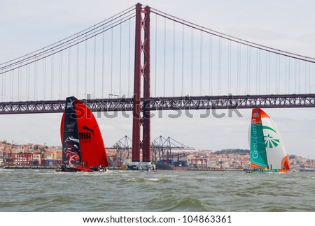 LISBON, PORTUGAL - JUNE 9: Groupama Sailing Team Volvo Ocean Race - Lisbon StopOver  - Harbour Race June 9, 2012 in Lisbon, Portugal