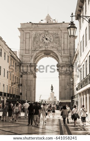 Lisbon, Portugal - June 2016: Historical Augusta Street Triumphal Arch in the Commerce Square (Praca do Comercio or Terreiro do Paco), Lisbon, Portugal