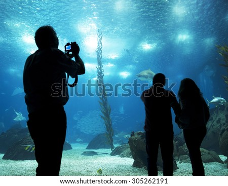 LISBON, PORTUGAL - June 12 2015: Interior view of the Lisbon Oceanario on June 12 2015 Lisbon, Portugal, Europe