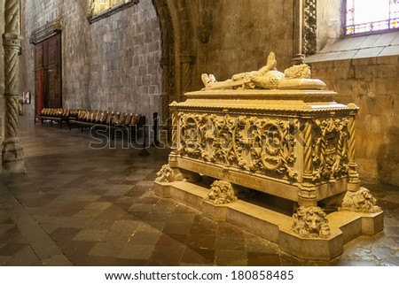 Lisbon, Portugal - June 30, 2013: Luis Vaz de Camoes Tomb. The most important Portuguese poet. Jeronimos monastery in Lisbon. UNESCO World Heritage - stock photo