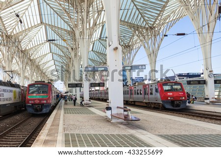 LISBON, PORTUGAL - JUNE 26: Modern architecture at the Oriente Station (Gare do Oriente) on June 26, 2014 in Lisbon, Portugal