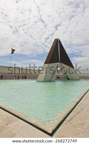 LISBON, PORTUGAL - JUNE 10, 2013: Monument to the Fighters Overseas (Monumento Nacional aos Combatentes do Ultramar) near Belem Tower. Monument commemorates Portuguese soldiers who died abroad - stock photo