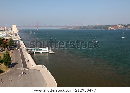 LISBON, PORTUGAL - JUNE 26: View over the Tagus River from Belem Tower in Lisbon. June 26, 2010 in Lisbon, Portugal