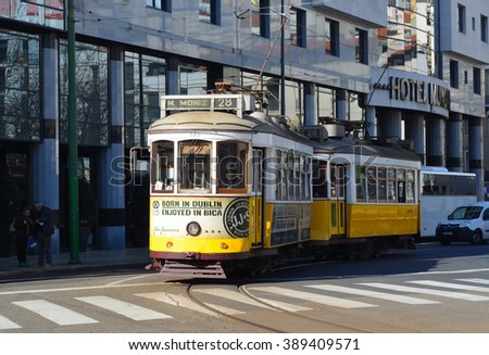 LISBON, PORTUGAL - MARCH 03, 2016: Vintage Trams Lisbon Portugal