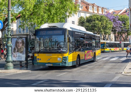 LISBON, PORTUGAL - MAY 26, 2015: Local buses in Lisbon also provide commuter buses between the airport and downtown and there are some destinations within the city that are best reached by bus.