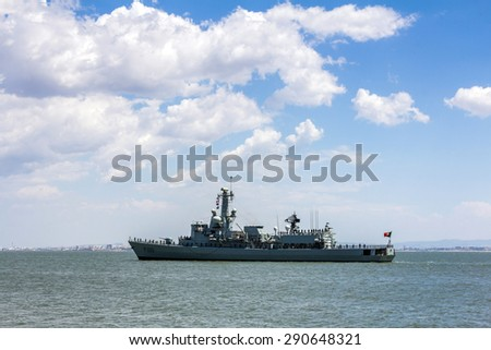 LISBON, PORTUGAL - MAY 24, 2015: Portugal celebrated its Navy with a number of Navy ships and submarines conducting a visit to the Lisbon waterfront for public viewing.