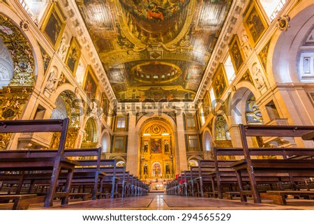 LISBON, PORTUGAL - MAY 26, 2015: The interior of church of Sao Roque in Lisbon, Portugal. It was the earliest Jesuit church in the Portuguese world, and one of the first Jesuit churches anywhere.