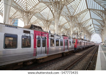 LISBON, PORTUGAL - MAY 06: the station Estacao do Oriente on May 06, 2013 in Lisbon. The station is designed by world famous architect Santiago Calatrava.