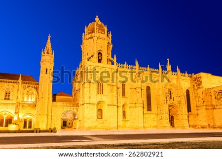 Lisbon, Portugal. Mosteiro dos Jeronimos,  Jeronimos (Hieronymites) Monastery, located in Belem district of portuguese capital, considered  most Manueline style constuction (Portuguese late-Gothic). - stock photo