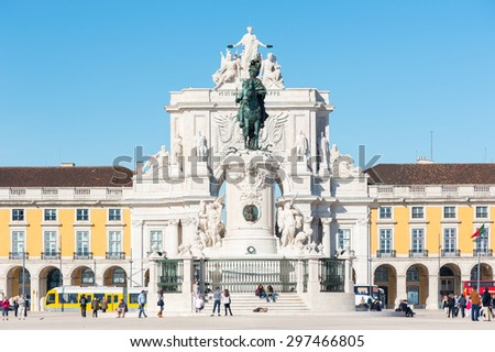 Lisbon, Portugal - November 20, 2013: Statue of of King Jose I in the center of the Commerce Square (Praca de Commercio).