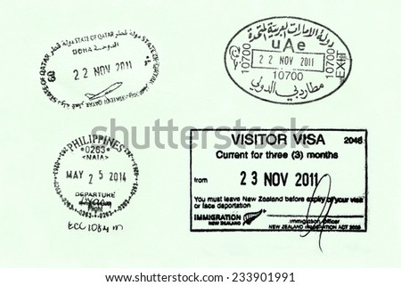 LISBON/PORTUGAL - NOVEMBER 25:  Various travel stamps on a European passport on November 25th 2014. Thousands of business men travel the world to expand their business - stock photo