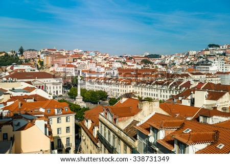 Lisbon, Portugal - 12. October 2015. Cityscape of Lisbon, View from Carmo Convent