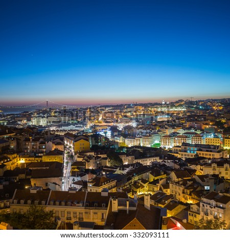 Lisbon, Portugal - October 22, 2015: Late Evening View from Old Town of Lisbon, Portugal