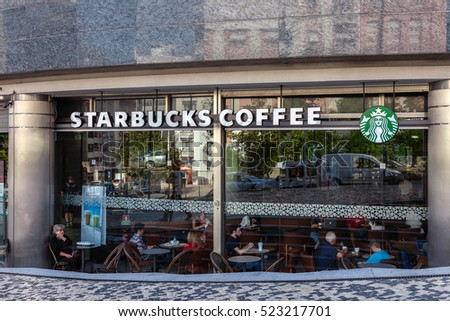 Lisbon, Portugal - October 19, 2016: Starbucks coffee house on the El Corte Ingles Shopping Mall, a high end global retail company.