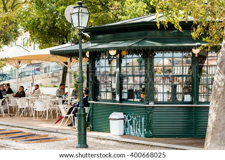 LISBON, PORTUGAL - OCTOBER 19, 2015: Typical kiosk selling snacks and drinks in the lively Graca district on a sunny autumn day in Lisbon, Portugal. - stock photo