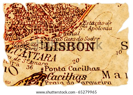 Lisbon, Portugal on an old torn map from 1949, isolated. Part of the old map series. - stock photo
