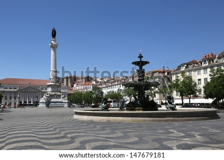 Lisbon Portugal Rossio square with a fountain and column
