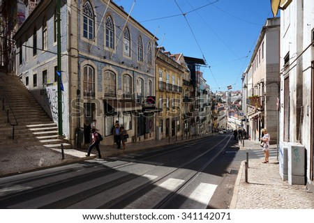 Lisbon, Portugal - September 20th, 2015:  Scene on the street of an old town Lisbon in Portugal