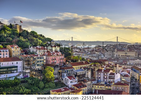 Lisbon, Portugal skyline at Sao Jorge Castle and Tagus River. - stock photo