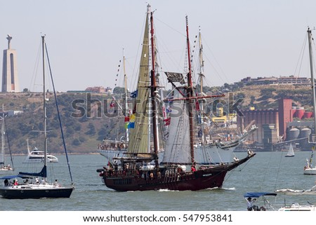 LISBON, PORTUGAL: 25th july, 2016 - Tall Ships race is a  big nautical event where big majestic ships with sails are presented to the public for visitation.