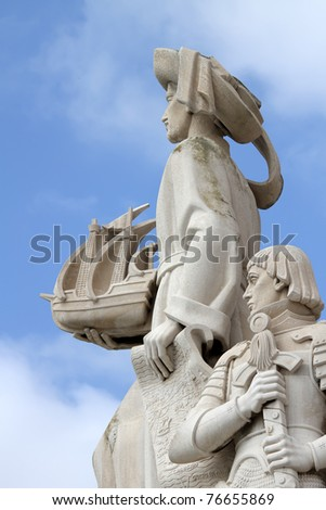 LISBON, PORUGAL - MARCH 30: Detail of Padrao dos Descobrimentos (Monument of the Discoveries) in Lisbon, Portugal on March 30, 2011. This 52 metre-high monument was built for the World Fair in 1940.