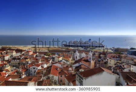 Lisbon roofs and cruise ship in harbor, top view