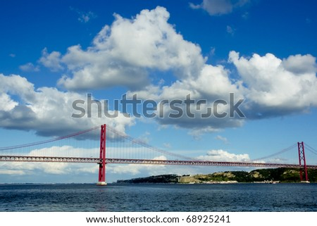 Lisbon's main bridge - stock photo
