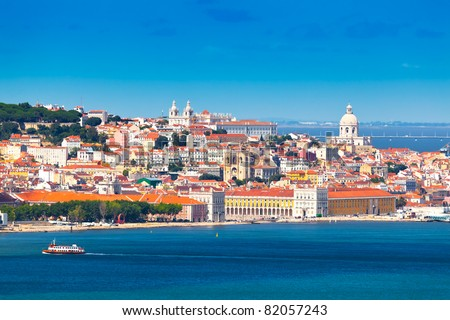 Lisbon Skyline as seen from Almada (Portugal) - stock photo