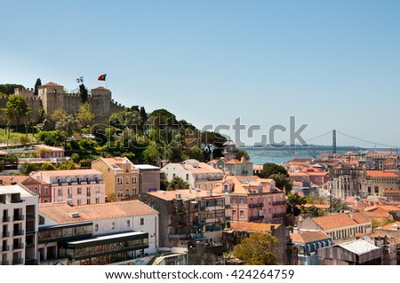 Lisbon skyline view towards the Sao Jorge Castle. Lisbon, the capital of Portugal, is a popular tourist destination in Europe. - stock photo