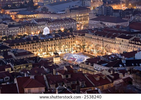 Lisbon, square at the downtow, season chirstmas - stock photo