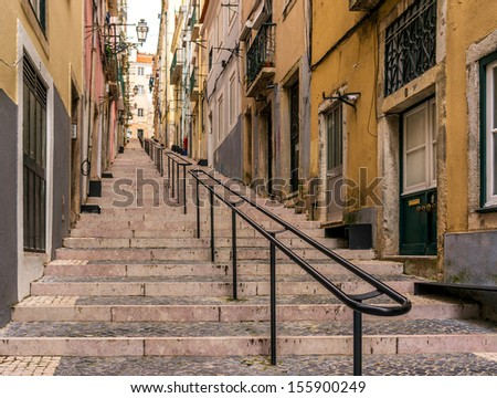 Lisbon stairs - stock photo