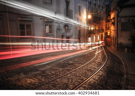 Lisbon street at night, Portugal - stock photo