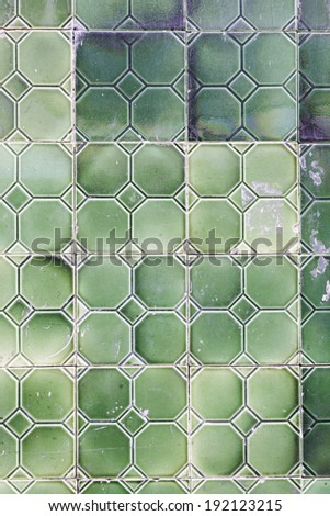 Lisbon typical green tiles detail of a typical wall decoration in Portugal - stock photo