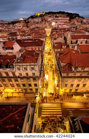 Lisbon view at night, Portugal - stock photo