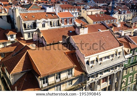 Lisbon view from the lift of Santa Justa, Portugal - stock photo