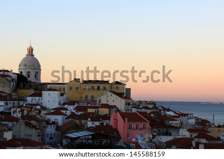 "Lisbon, view on historical district ""Alfama"" from ""Portas do Sol"" viewpoint - stock photo"