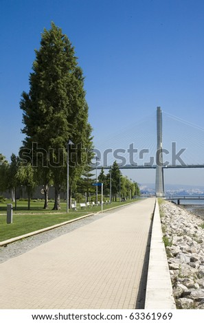 """Lisbon Waterfront at the """"Vasco da Gama"""" bridge over the river Tagus, on the Nations park - Expo - Location of the NATO Lisbon summit 2010 - stock photo"""