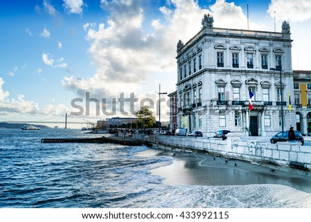 Lisbon waterfront (Portugal) - stock photo