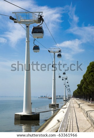 """Lisbon waterfront with cable ferries along the river """"Tejo"""" at the expo, """"Nations park"""". Portugal, location of the NATO Lisbon Summit 2010 - stock photo"""
