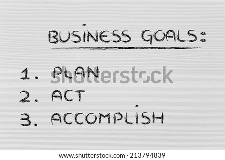 list of business goals to achieve success: plan, act, accomplish