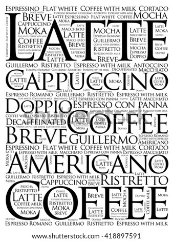 List of coffee drinks words cloud, poster background - stock photo
