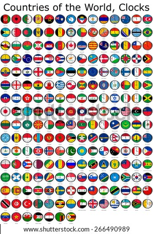 List of countries in the world, national flags set on a clock face with time zone set (Adjusted with Daylight Saving Time on corresponding countries) - stock photo