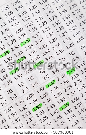 List of odds for offline betting - stock photo