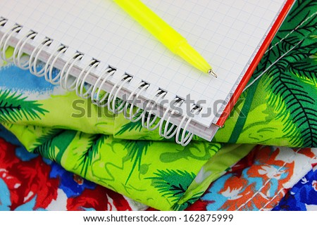 List of things to pack for vacation  - stock photo