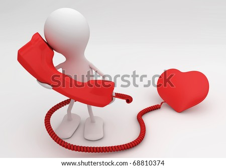 Listen to your heart. 3d rendered love concept - stock photo