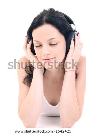 listening gently music - stock photo